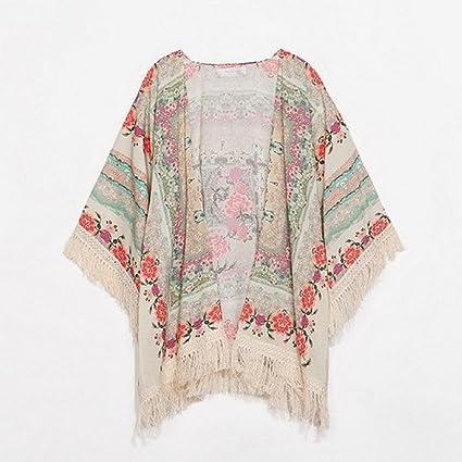 Malloom® Nuevo Verano Mujer Floral Suelto borlas Chal Kimono Rebeca Abrigo Chaqueta Blusa Tops blusón