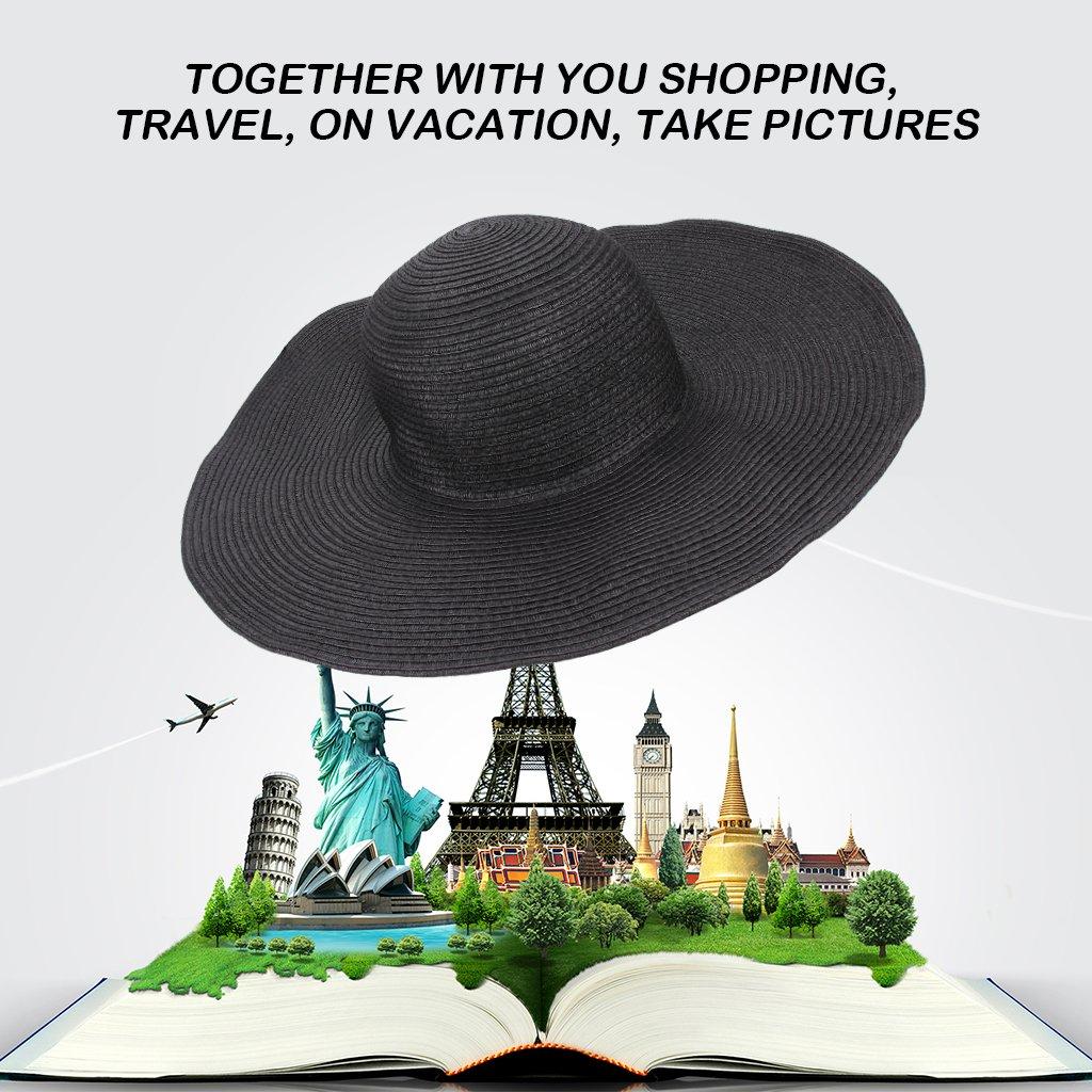 ETGtek(TM) Summer Foldable Wide Large Brim Beach Sun Hat Casual Vacation Travel Straw Beach Cap Elegant Hats For Women -Black EFORCAR