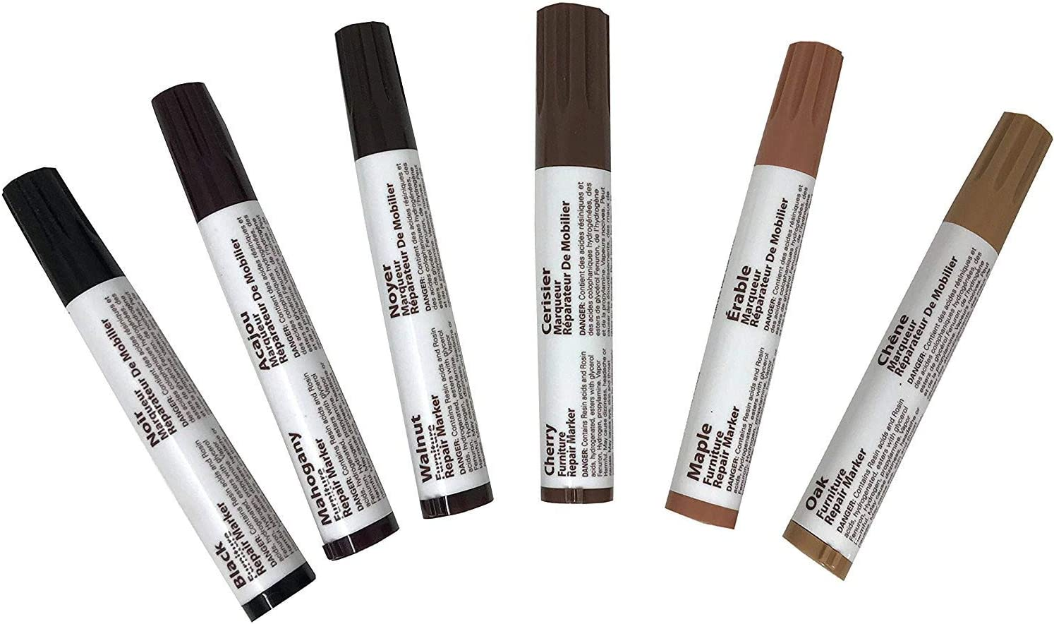 Royal Craft Furniture Repair System, 6 Piece Marker Filler Set for Every Wood Shade - Oak Cherry Mahogany Walnut Maple Black