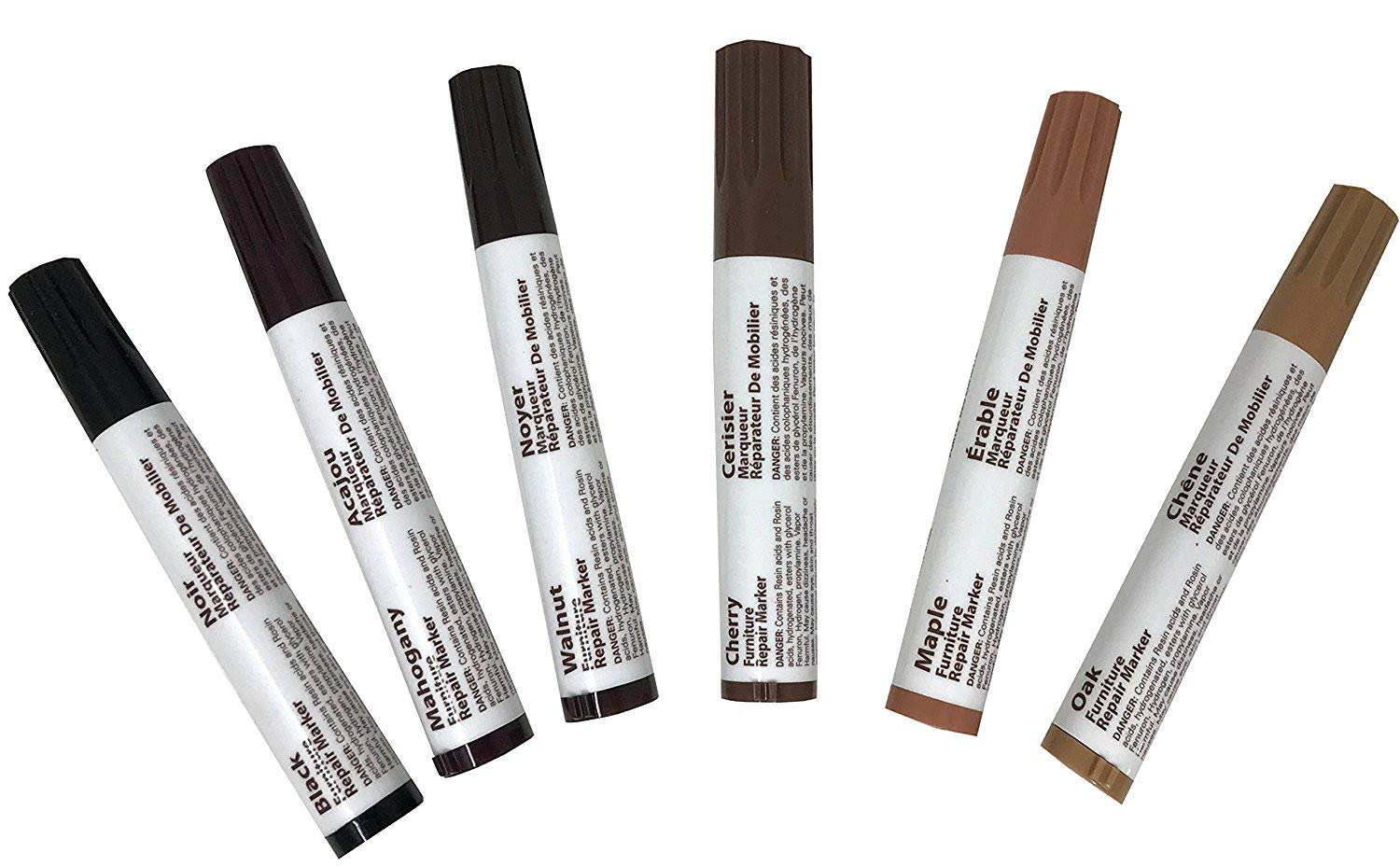 #1 Premium Furniture Repair System, 6 Piece Marker Filler Set for Every Wood Shade - Oak Cherry Mahogany Maple Black Walnut Unique Imports