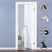 Mosquitera para puerta magnética, color blanco, antiinsectos, mosquitos