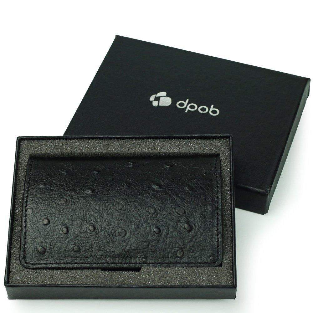 Leather Business Card Holder, DPOB Ostrich Grain Leather Business Card Cases/ID Case with Magnetic Shut (Black)