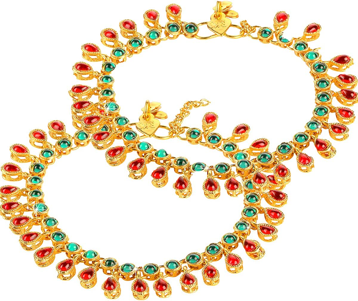 Exquisite Captive Beauty Traditional Indian Bollywood Designer Kundan Stone Studded Gold Plated Party ware Traditional Payal 2 Pc Anklet Indian Traditional Jewelry for Women From Yellow Chimes