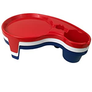 Tailor Made Products Party Pals, 3 Piece Set, One Handed Drink Holder, Napkin, Cutlery & Food Serving Tray with Hidden Handle - Red, White & Navy Blue