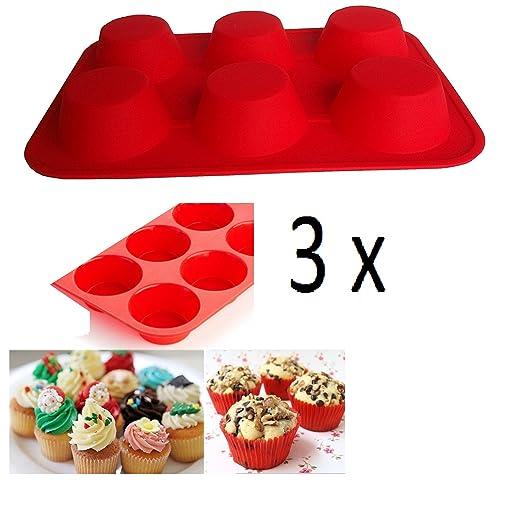 SWEET CANDY BAKERY 3 x Forma de Cupcake Muffin Molde de Silicona ...