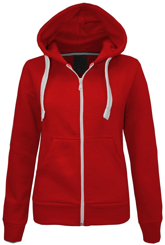 Cexi Couture New Womens Plain Zip Hoodoe Sweatshirt Ladies Fleece Hooded Jacket Top SIZE 6-20