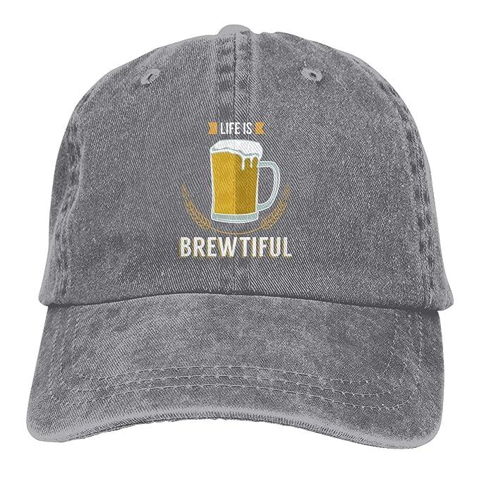 Oiir Ooiip Life is Brewtiful Beer Dad Denim Hats Washed Baseball Cap ... 8f5d5b7e2c7c