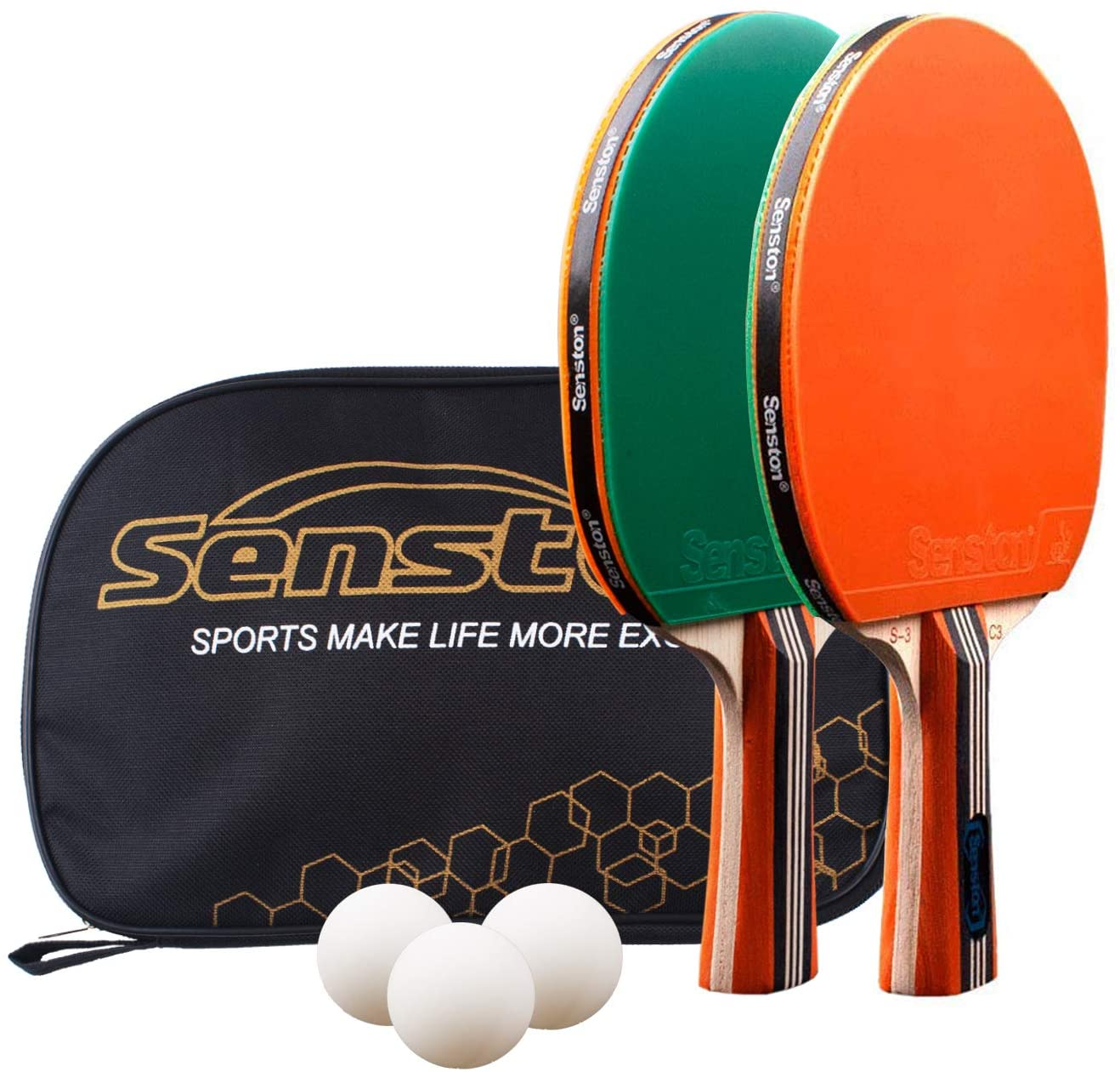 Senston Palas Ping Pong, Certificado por la ITTF Pelotas Ping Pong Set, 2 Raquetas de Tenis de Mesa + 3 Pelotas + 1 Bolsa,el Entrenamiento/Kit de Raqueta recreativa