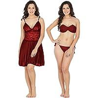 Klamotten Satin Women Nightwear and Bikini Set 221M-07