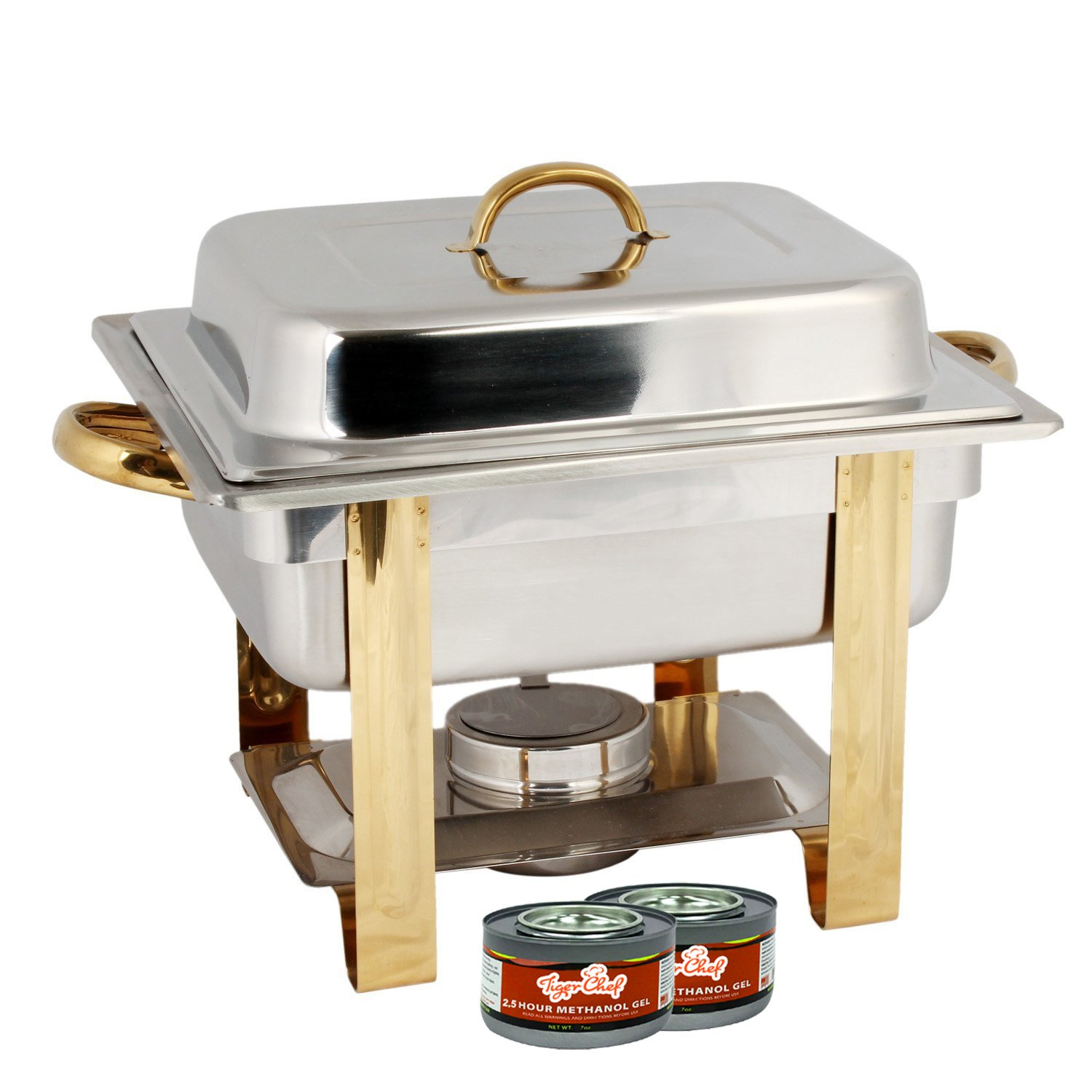 TigerChef TC-20415 Half Size Chafing Dish Buffet Warmer Set, Gold Accented, Includes 2 Free Chafing Fuel Gels, Stainless Steel, 4 Quart