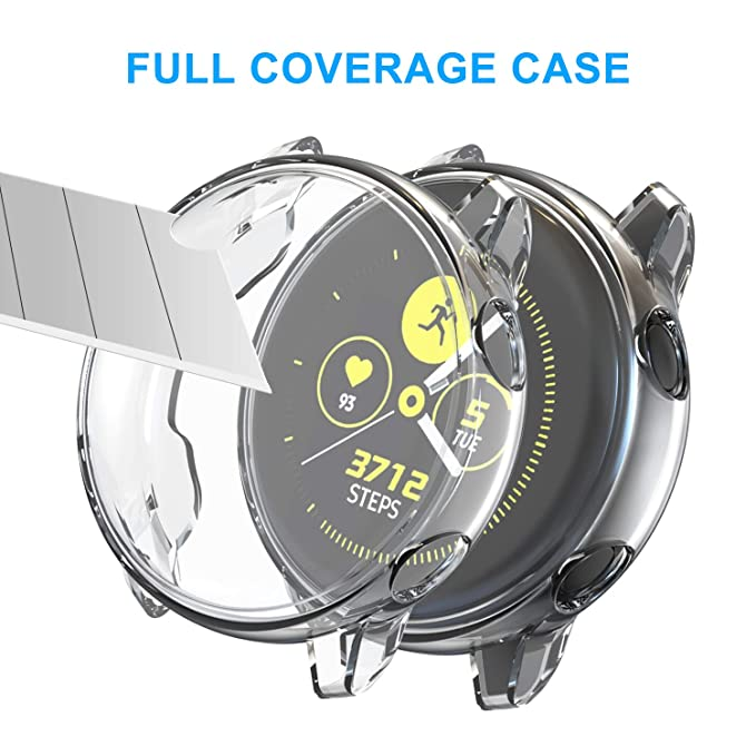 [2 Pack] Screen Protector Case for Samsung Galaxy Watch Active 40mm, All-Around TPU Anti-Scratch Flexible Case Soft Protective Bumper Cover for ...