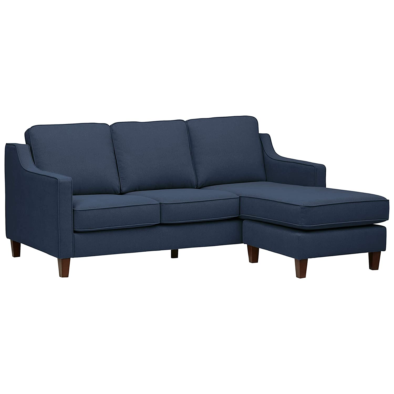 "Stone & Beam Blaine Modern Sectional, Fabric, 79.5""W, Navy Blue"