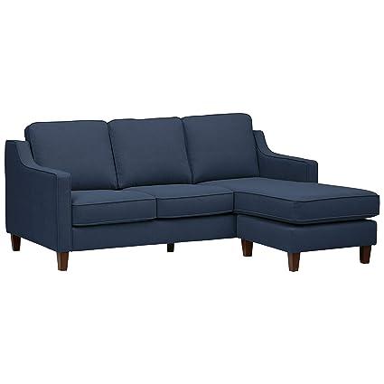 Astounding Stone Beam Blaine Modern Sectional Sofa 79 5 Inch Navy Blue Pdpeps Interior Chair Design Pdpepsorg