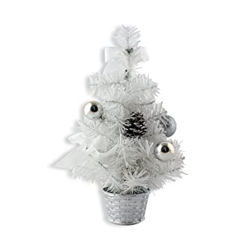 12inch Mini Desk Top Table Top Decorated Christmas Tree With Bows U0026 Baubles  Ornaments Decorations,