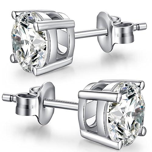 65335a1cabf18 Han han Sterling Silver Stud Earrings Round Cut CZ Cubic Zirconia Diamond  Stud Earrings Fashion 18K Platinum Plated Hypoallergenic Earrings for Women  ...