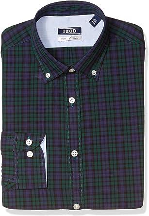 IZOD Camisa de vestir para hombre, ajustada, a cuadros: Amazon.es: Ropa y accesorios