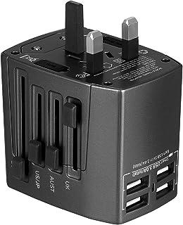 Milool Adattatore Universale da Viaggio Travel Adapter Universal (US/EU / UK/aus) Caricatore 4 Porte USB per Oltre 150 Paesi Internazionale di Potere di Corsa Spina CA della Presa di Corrente (Blu)