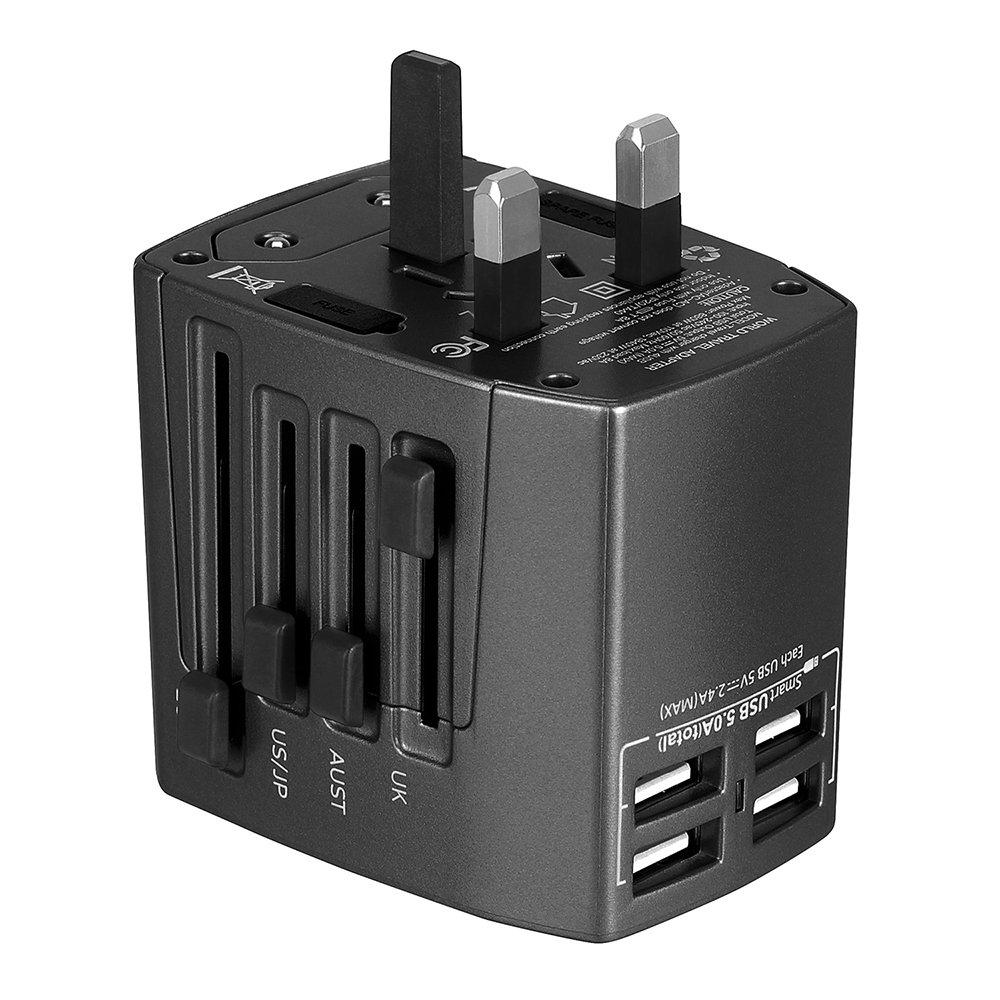 Adattatore Universale da Viaggio Travel Adapter Universal (US / EU / UK / AUS) Caricatore 4 Porte USB per Oltre 150 Paesi Internazionale di Potere di Corsa Spina CA Della Presa di Corrente–Milool (Azzurro) IT-MSL128Blue