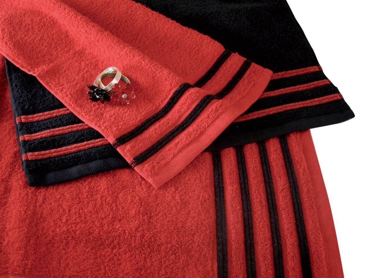 Drap De Douche 70x140 cm 100/% Coton 550 grS//m2 Rouge avec Liserets Noir