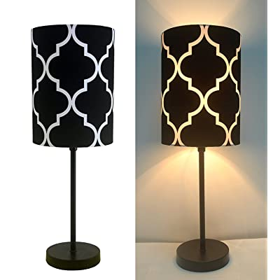 "16""H Mini Living Room Indoor Table Lamp Metal Base (Black)"