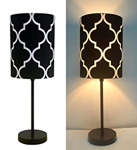 "16"" H Mini Living Room Indoor Table Lamp Metal Base (Black)"