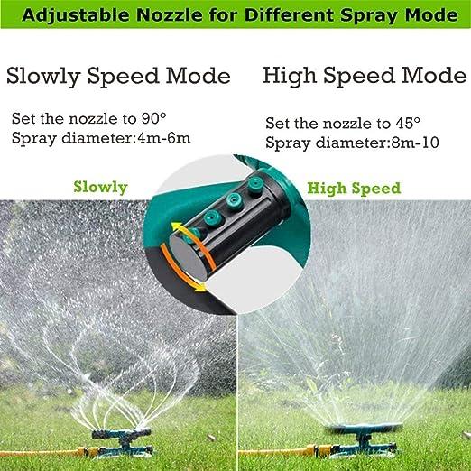 TOPINCN Aspersor Giratorio Sprinkler pulverizador del c/ésped Riego Jard/ín 360//° Completamente a 3/boquillas aro Gira Intorno a una Grande Area