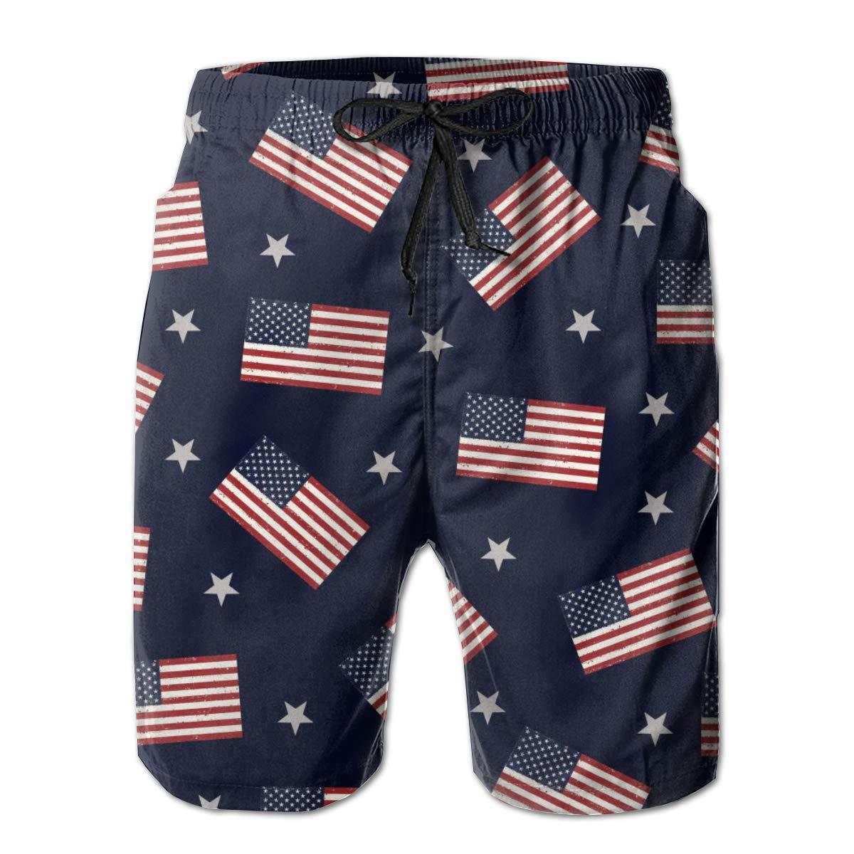 Galaxy Voyage USA American Flag Boys Mens Swim Trunks Surf Pants 3D Swimming Trunks Board Shorts for Men