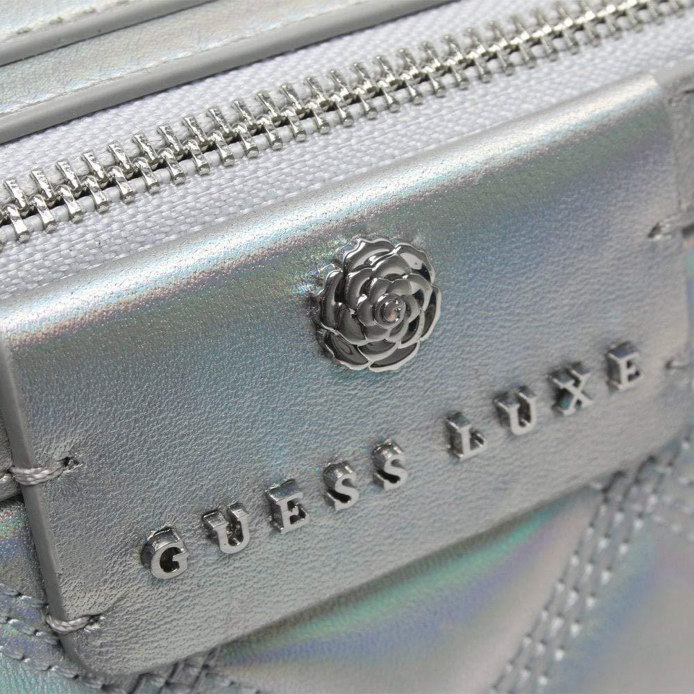 Guess borsa da fotocamera trapuntata in pelle argento