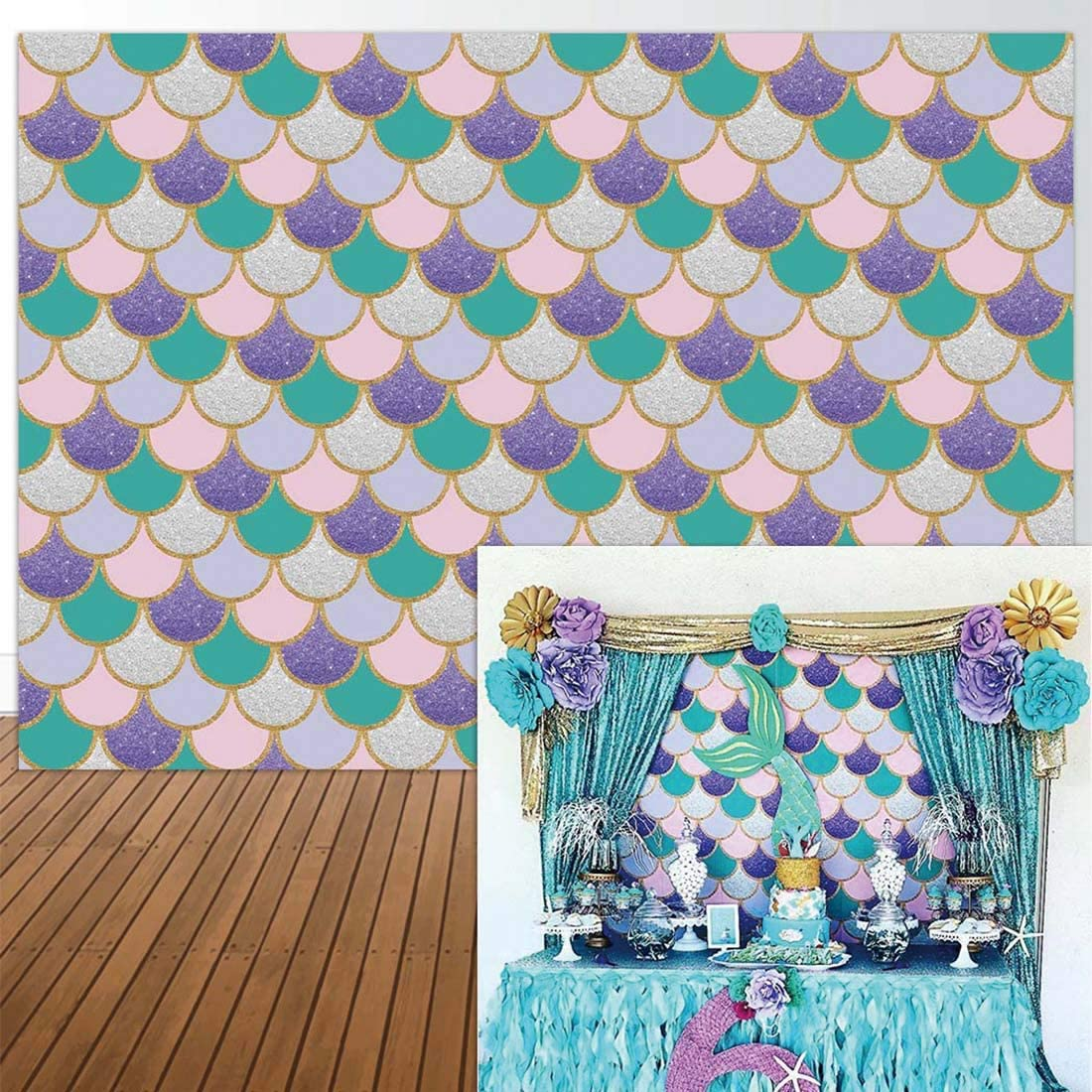 New 5x5ft Mermaid Birthday Party Photography Backdrop Glitter Pink Purple Mermaid Scales Happy Birthday Banner Pricness Background Newborn Baby Shower Cake Table Decor Photocall Studio Props