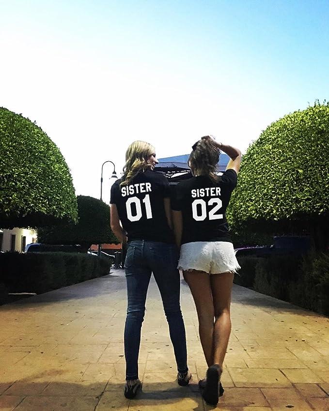 Amazon.com: Sister T Shirt Friends Shirts Cotton Two Girls Letter Print Shirt Matching Tees: Clothing