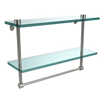 Allied Brass Ns 216tb Sn 16 Inch Double Glass Shelf With Towel Bar
