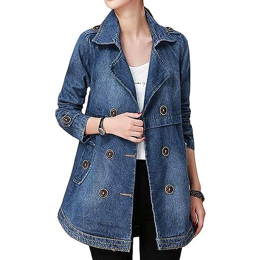 Women S Notch Collar Long Sleeve Button Embellished Denim Jacket At