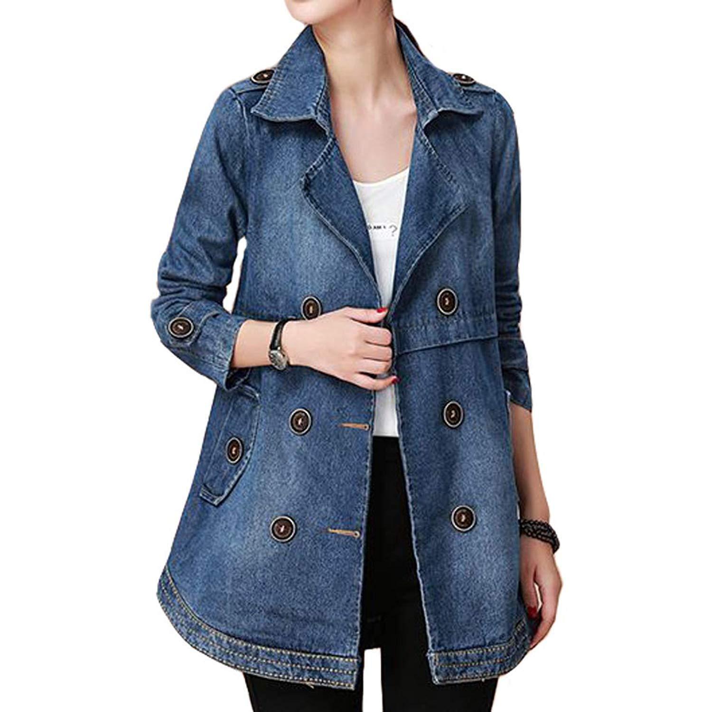 Women's Notch Collar Long Sleeve Button Embellished Denim Jacket,Large