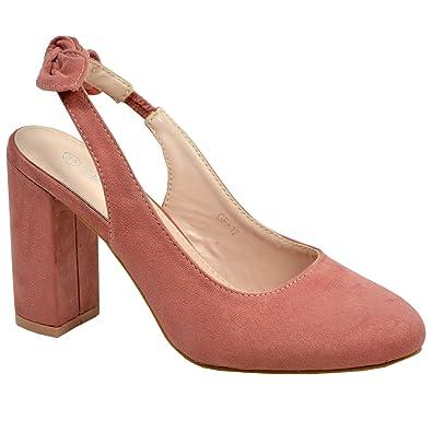 fecf5286aa6 New Womens Ladies Sling Back Pumps High Block Heels Comfy Fashion Shoes  Size UK