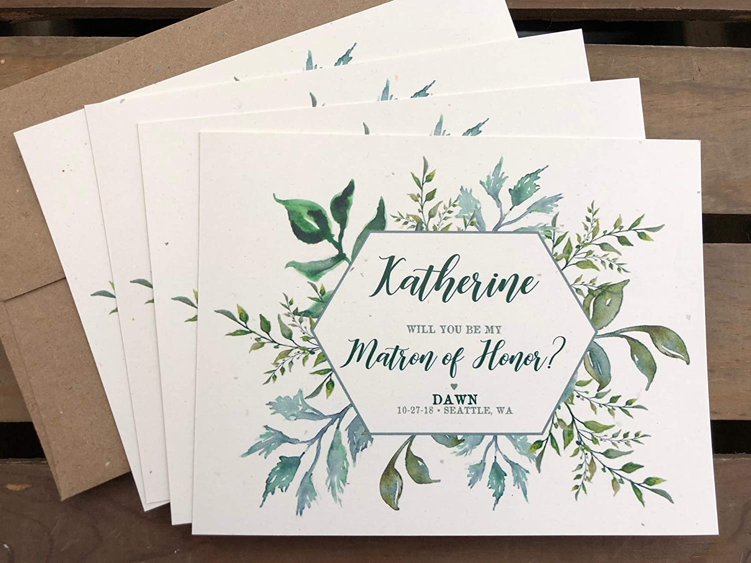 Personalized Bridal Party Proposal Cards - Greenery leaves - Will you be my Bridesmaid - Maid or Matron of Honor - Junior Bridesmaids - Flower Girl - Wedding - Eco Friendly