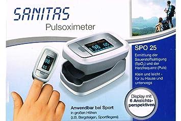 Sanitas SPO 25 - Oxímetro de pulso (cálculo de la saturación de oxígeno y de la frecuencia del corazón): Amazon.es: Bebé