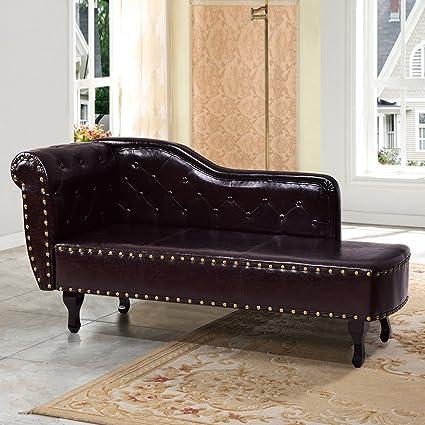 Giantex Chaise Lounge Sofa W/ Nail Head Back, Sofa Chair For Bedroom, Living