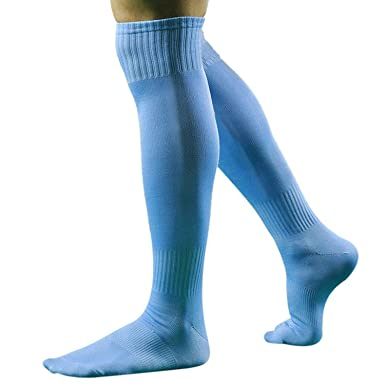 6717194acb8 Susenstone Men Sport Football Soccer Long Socks Over Knee High Sock (Sky  Blue)  Amazon.co.uk  Clothing