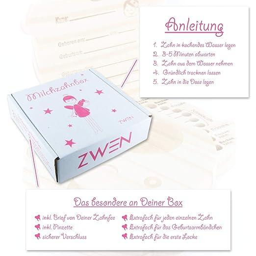 ZWEN MILCHZAHNBOX 3.0 + s/ü/ßer Zahnfeebrief I GRATIS E-Book I Milchzahndose f/ür M/ädchen /& Jungen Prinzessin /& Pirat farbig Prinzessin braun