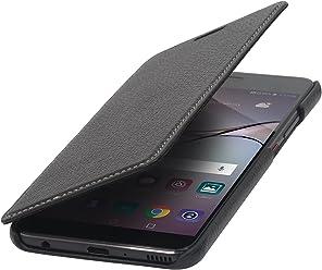 StilGut Book Type sans Clip, Housse en Cuir pour Huawei P10 Plus. Etui de Protection de Cuir véritable à Ouverture latérale, Noir