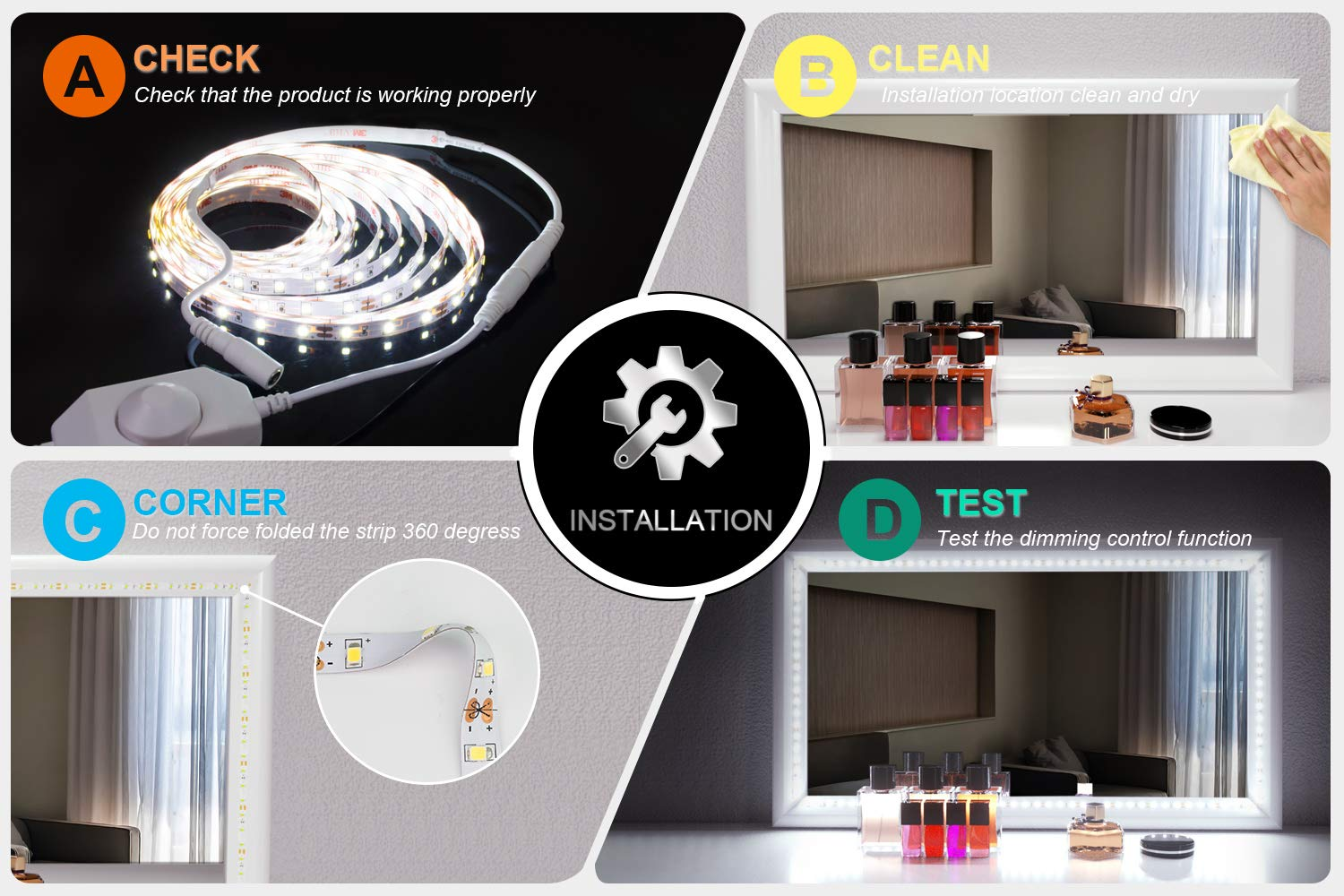 LED Vanity Mirror Lights Kit for Makeup Dressing Table Vanity Set 13ft Flexible LED Light Strip 6000K Daylight White with Dimmer and Power Supply, DIY Mirror, Mirror not Included by PANGTON VILLA (Image #4)
