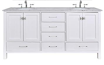 Stufurhome Gm 6412 72pw Cr 72 Inch Malibu Pure White Double Sink