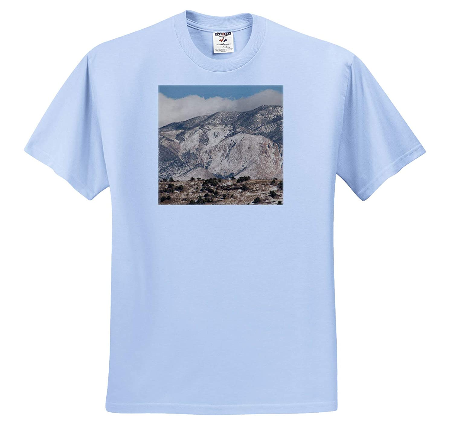 ts/_320089 Adult T-Shirt XL 3dRose Jos Fauxtographee- Mountain A Mountain Taken with a Warm Filter with Slight Snow