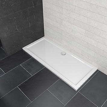 Bandeja rectangular de piedra de 1600 x 700 x 40 mm para mampara de ducha + trampa de residuos, blanco: Amazon.es: Bricolaje y herramientas