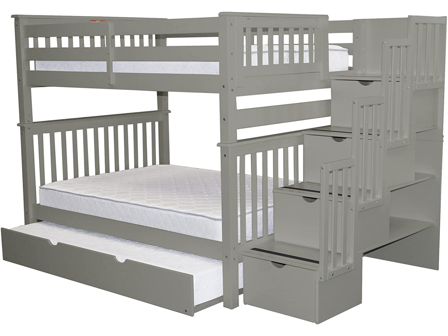 Bedz King Stairway Bunk Beds Full over Full with 4 Drawers in the Steps and a Full Trundle, Gray