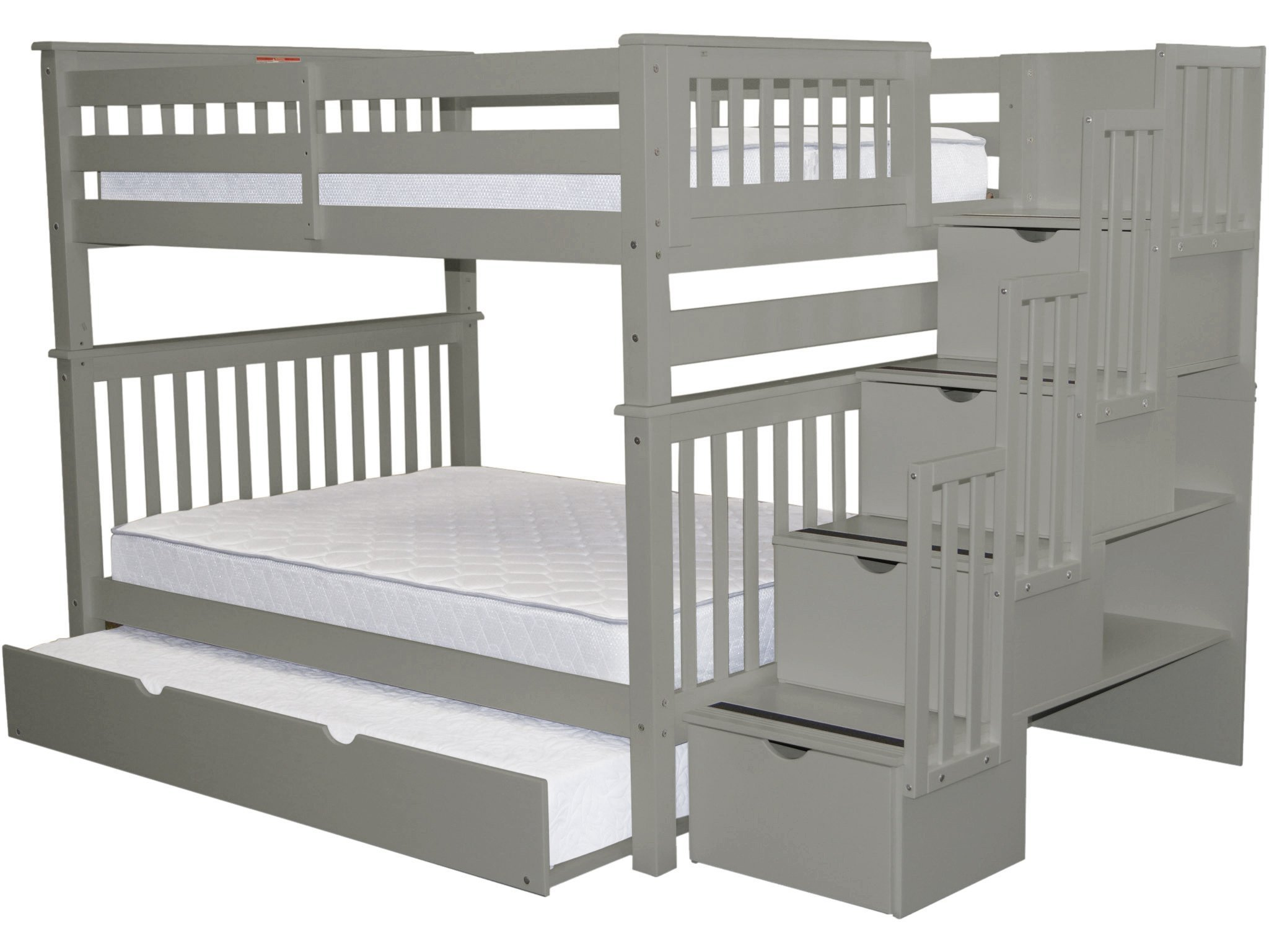 Bedz King Stairway Bunk Beds Full over Full with 4 Drawers in the Steps and a Full Trundle, Gray by Bedz King