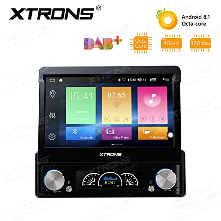 XTRONS Universal Single Din Car Stereo Radio DVD Player Android 8.1 Octa Core 4G RAM 32G ROM 7 Inch Touch Screen GPS Navigation Built-in DSP Head Unit Supports WiFi Bluetooth Backup Camera DVR OBD2