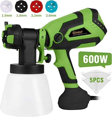 Paint Sprayer, Ginour 600W HVLP Spray Gun, 1200ml min Paint Sprayers with 3 Spray Patterns, 4 Copper Nozzles, 5 PCS Filter Paper, 1000ml Container for Home and Outdoors, Painting Projects