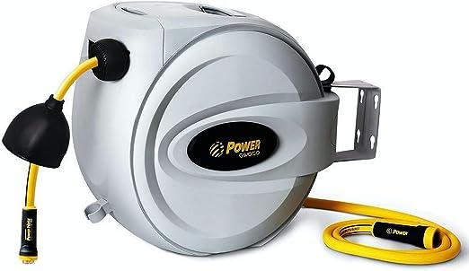 POWER Carrete de Manguera Automático, 20 + 2m Manguera Enrollable, Rotación de 180°, Protector de Boquilla, 500 PSI Ráfaga de Capa - Fácil Para Llevar – GW020: Amazon.es: Jardín