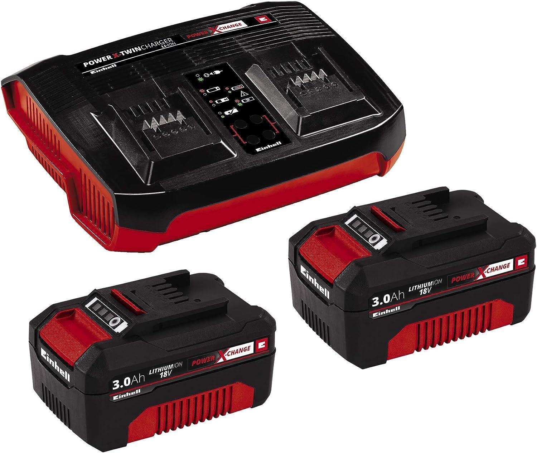 Einhell Kit de iniciación PXC 2 x 3,0 Ah y el kit de cargador doble (se puede utilizar para todos los dispositivos Einhell Power X-Change)